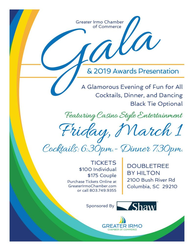 The Annual Greater Irmo Chamber Awards Night and Gala