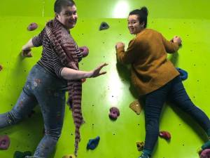 doulas on a climbing wall