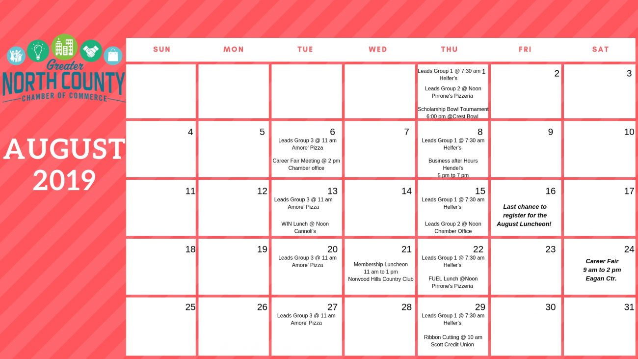 photo about Printable Aug Calendar named Printable August Calendar - Larger sized North County Chamber of