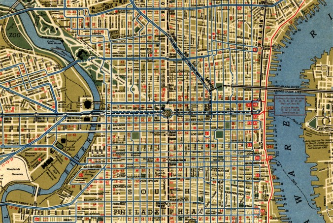 1944 PTC Map - Center City and West Philadelphia