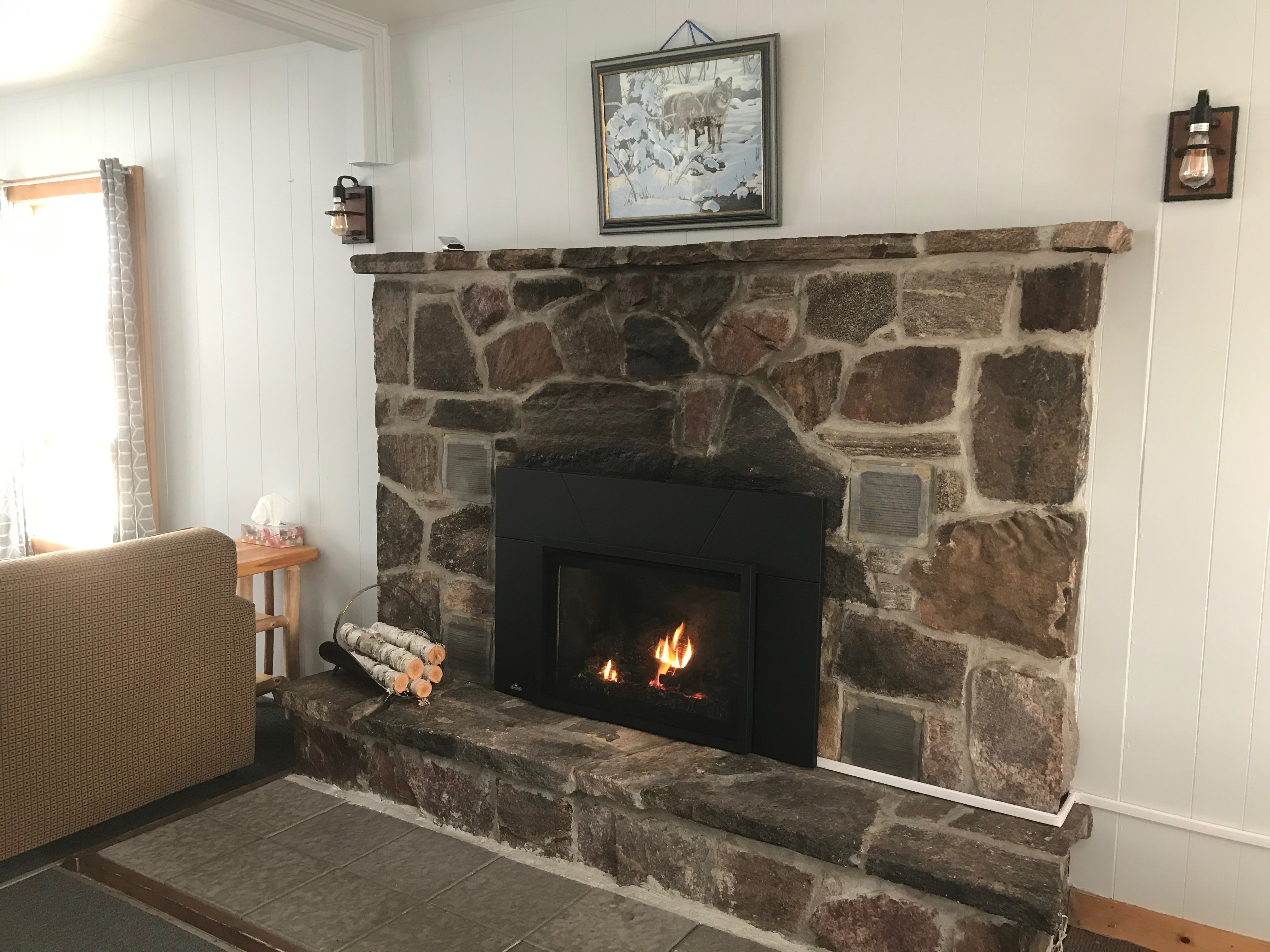 Cabin 2 fireplace
