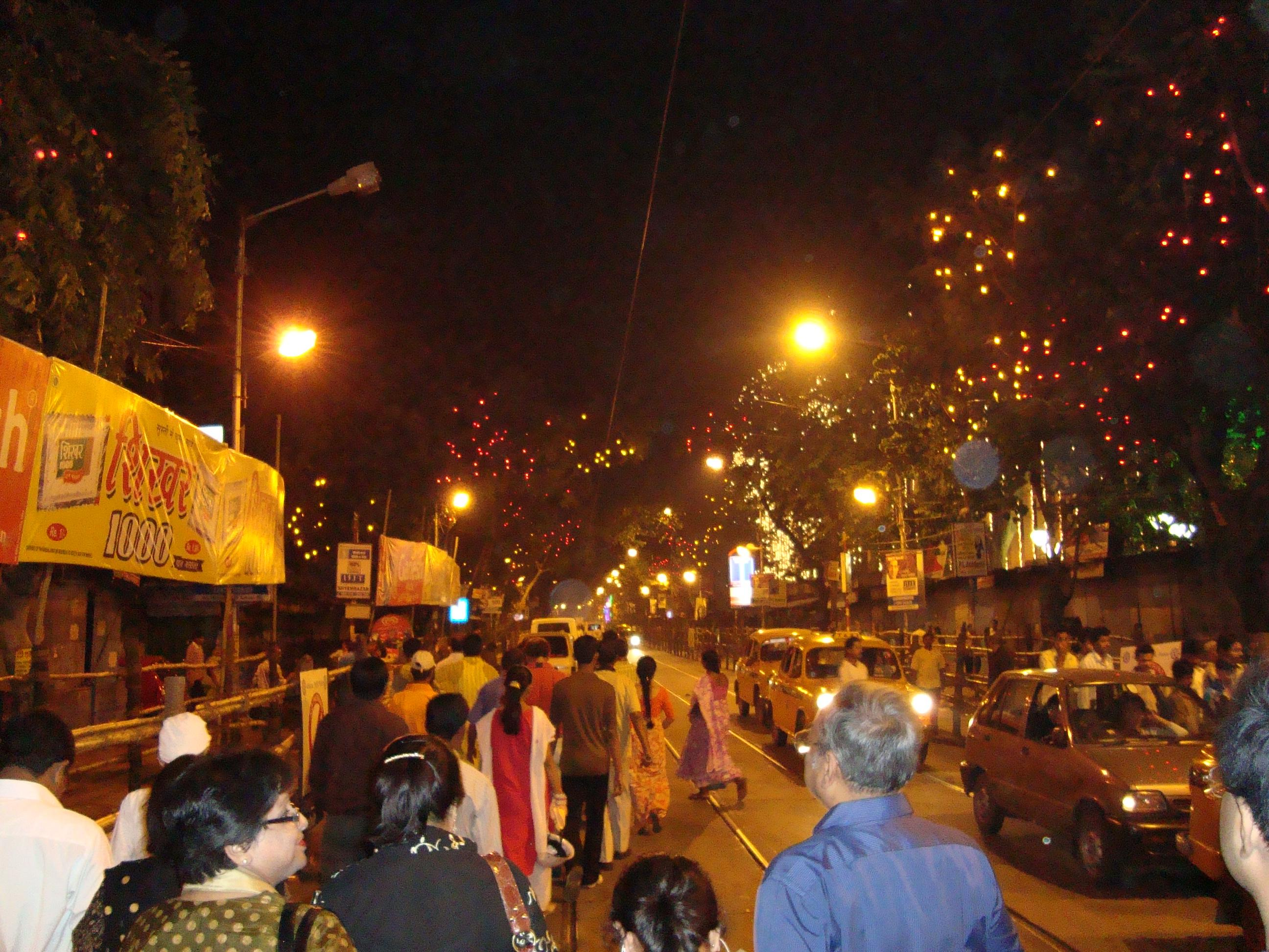 Streets at nite during Durga Puja