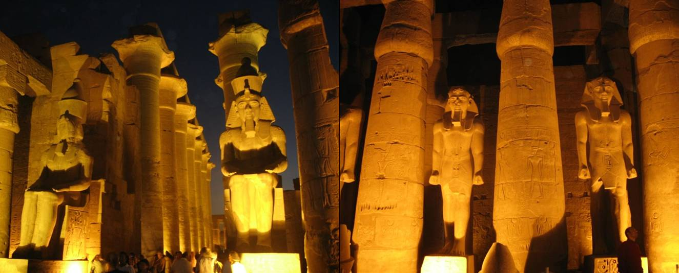 Luxor Temple at nite, Egypt