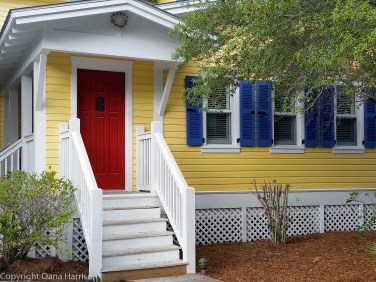 Seaside Yellow House with Red door