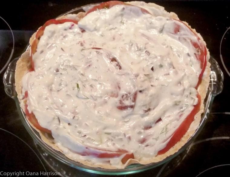 Tomato pie ready to bake