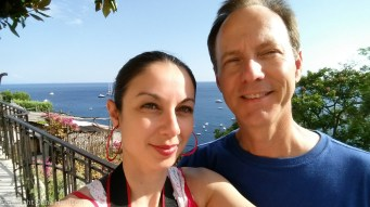 Oana and David above Positano