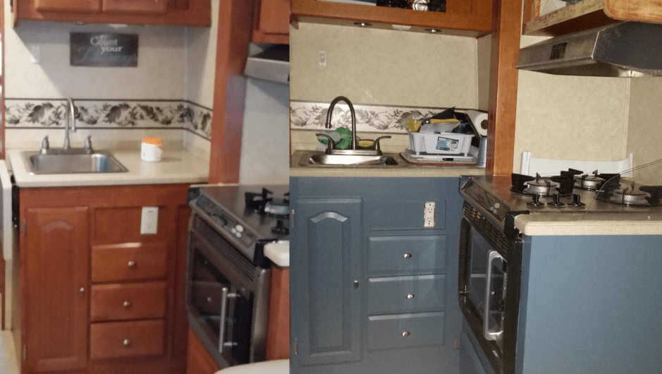 Kitchen lower cabinets - before and after