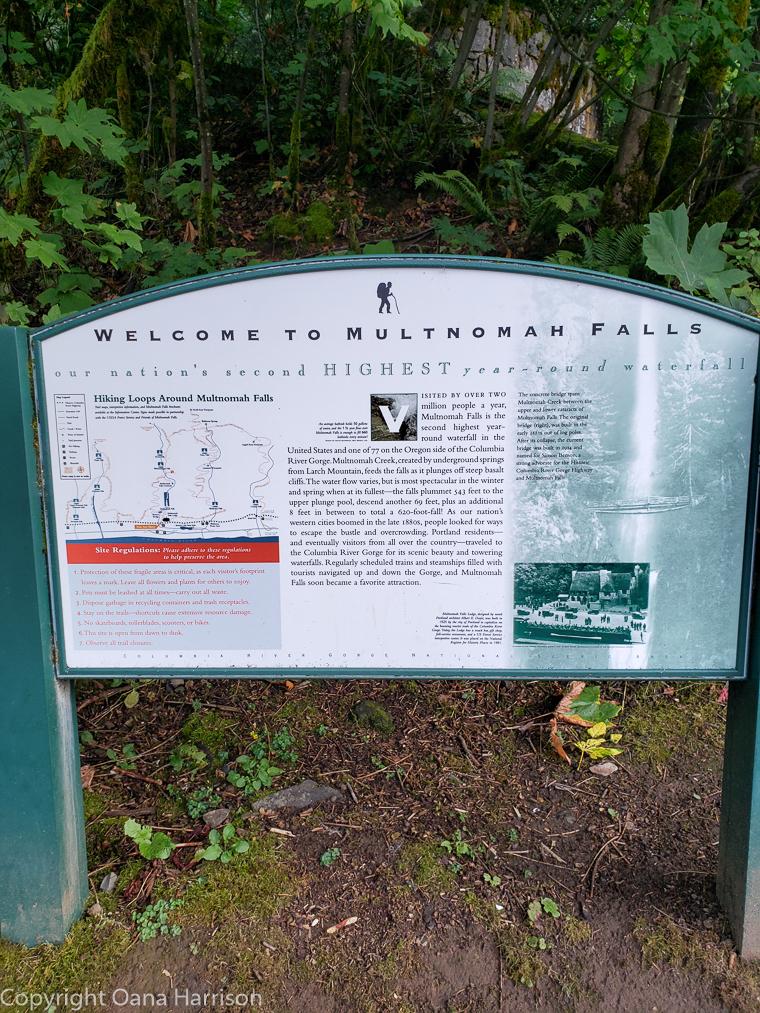 Ainsworth Park Multnomah Falls sign