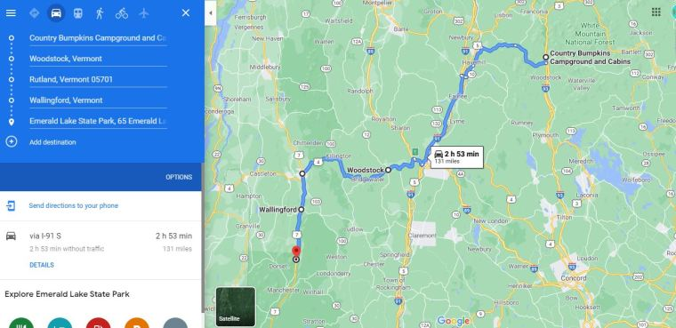New Hampshire to Vermont - trip map