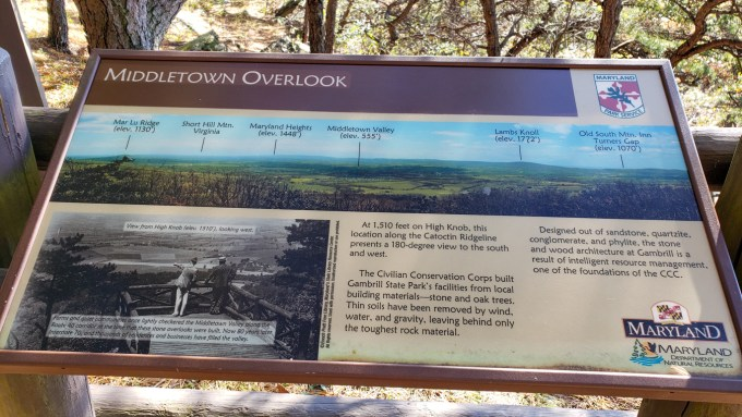 Middletown Overlook info sign, Gambrill State Park