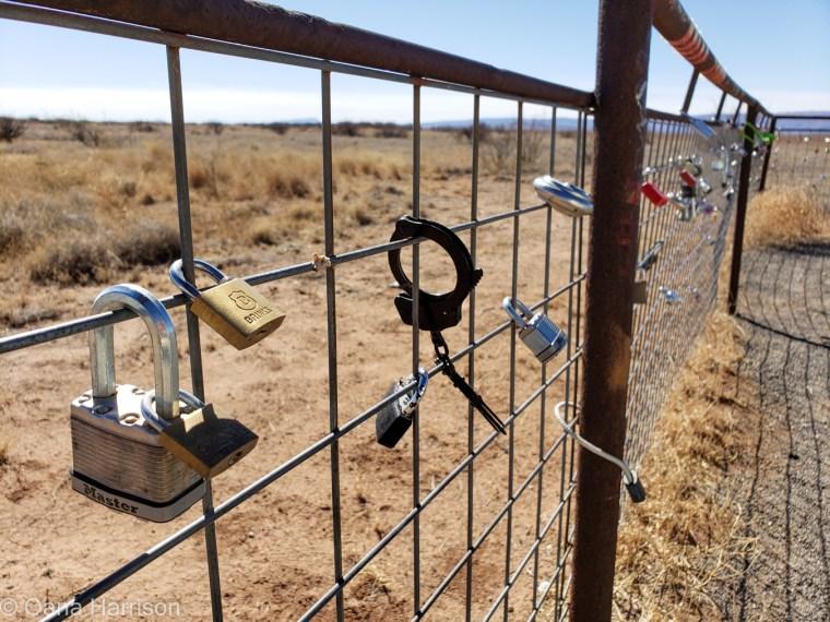 Locks on fence Marfa TX