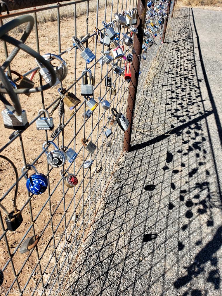 Locks on fence Marfa, Texas