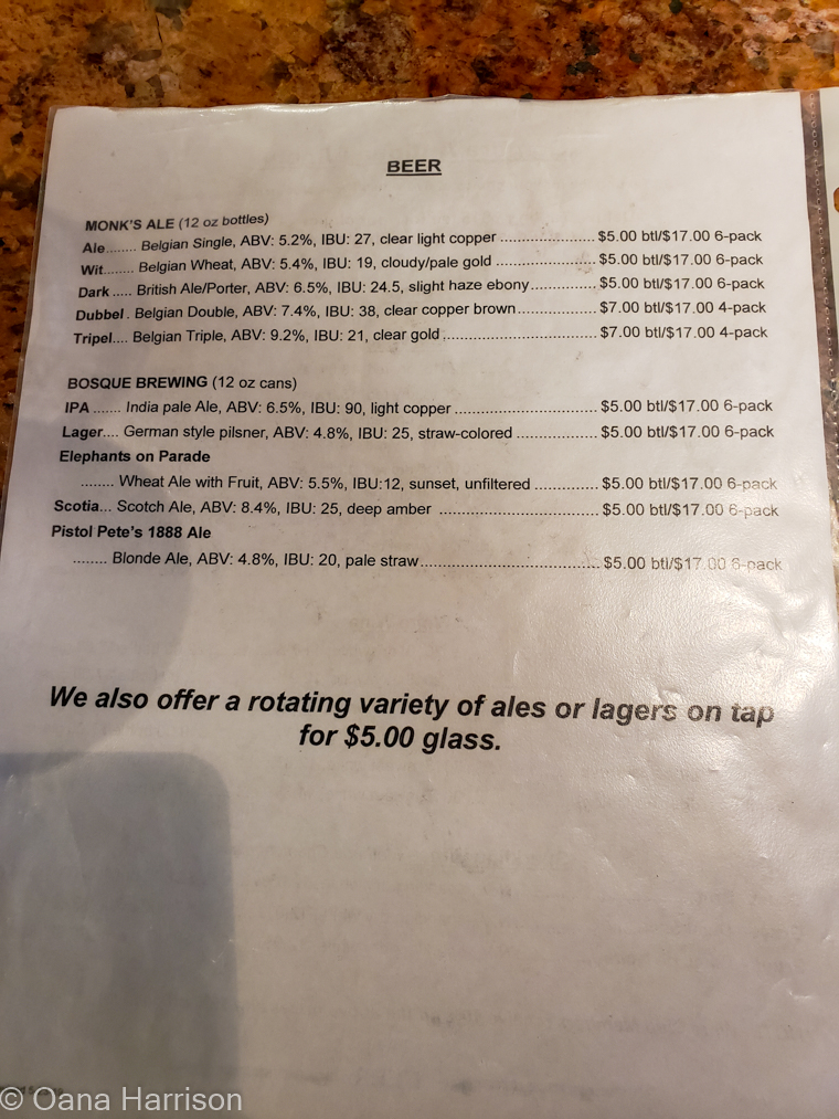 Beer menu, Sombra Antigua Winery, Anthony, Texas