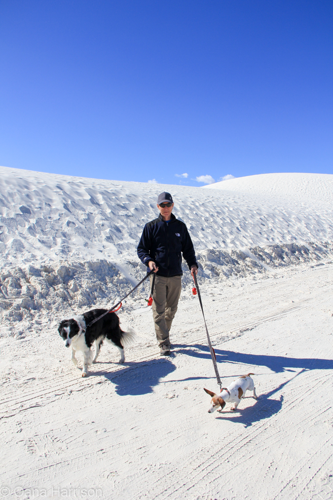 David and dogs at White Sands, New Mexico