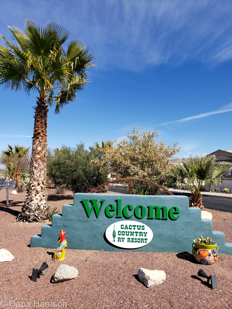 Cactus Country RV Park Arizona welcome sign