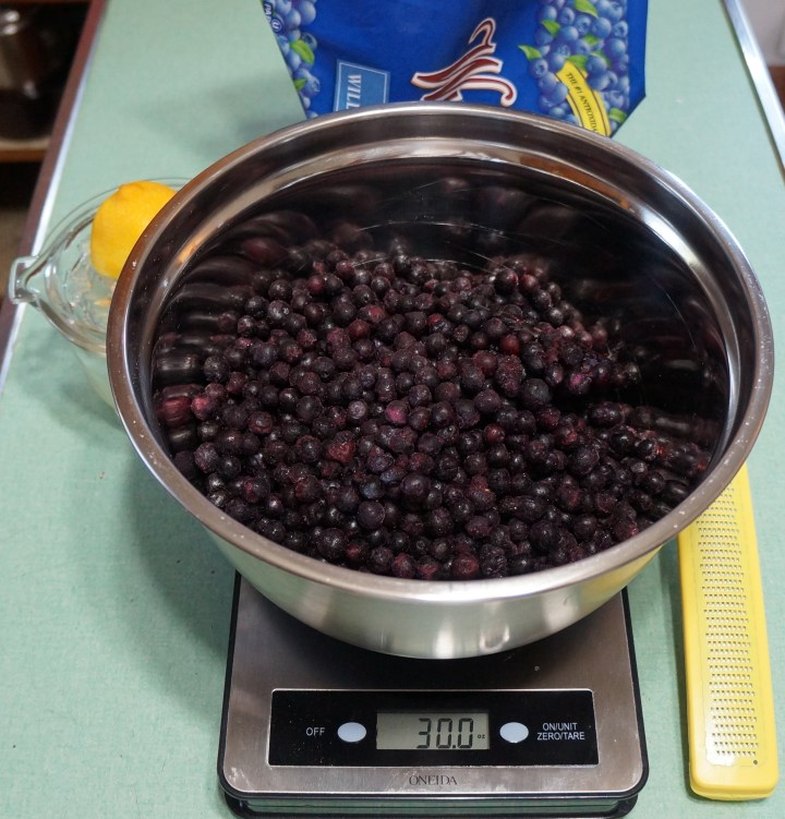 30 ounces of frozen blueberries - weighed-out from a 5 lb. bag I have.