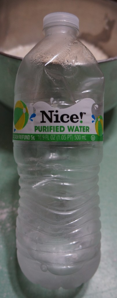 My pie-crust special water bottle - I fill it with a mixture that is 1/2 water and 1/2 vodka and keep it in my refrigerator.