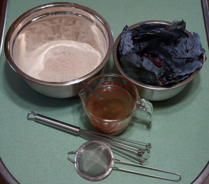 Flour, raisin water, 4 oz. grapes, 2 oz. cabbage, whisk, strainer (to catch the raisins).
