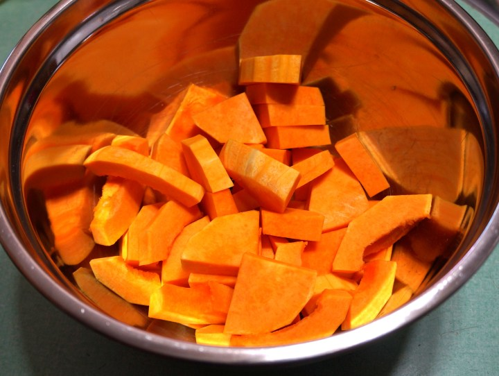 "Butternut Squash - quartered lengthwise and cut into 1/2"" chunks."