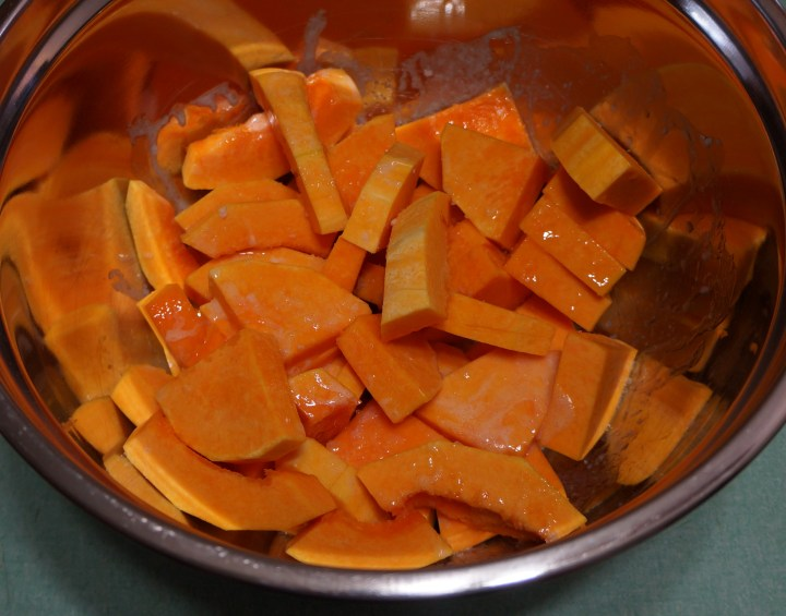 Toss the squash with the melted butter and a big pinch of kosher salt.