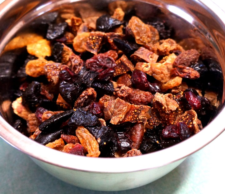 Weigh-out the dried fruit you are going to use.  Choose a variety of different fruit.  Cut any larger pieces of fruit into smaller chunks (no need to chop or dice - chunks are fine).