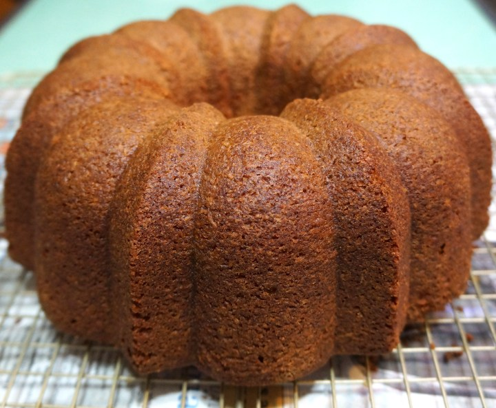 Inverted to remove the bundt pan and cool.