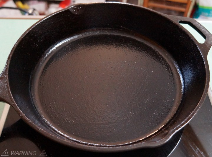 The skillet is ready to cook some cornbread.