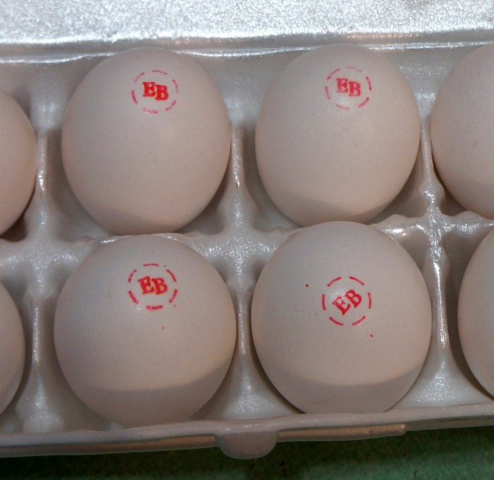 Branded egg farms love to include little brand stamps on their eggs.