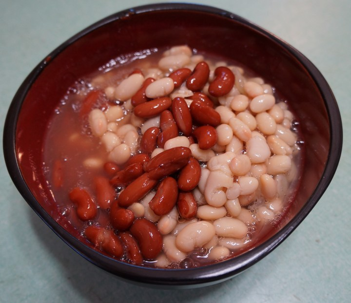 And there wasn't enough room in my slow cooker for all those beans.  If this ever happens you can either mix them in at the end in a larger vessel or you can add them after the first couple of servings have been removed from the slow cooker.   Remember that the chili isn't the beans (in this case), it's the spicy sauce around the beans.
