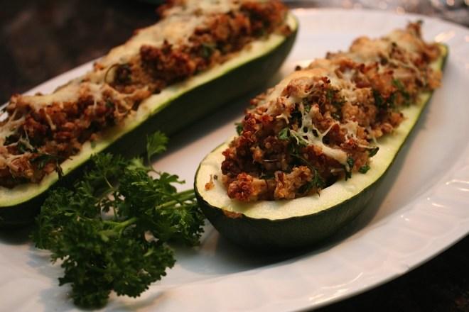 Quinoa Turkey Zucchini Boats