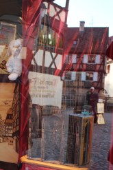 Touristy as ever, little shops such as this one can be found dotted throughout the city centre. In the reflection, you can see a man selling portraits and the iconic medieval half-timbered houses.