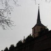 Church spire and flower boxes