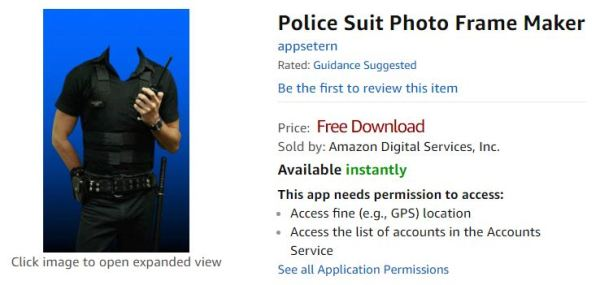 Police Suit Photo Frame Maker