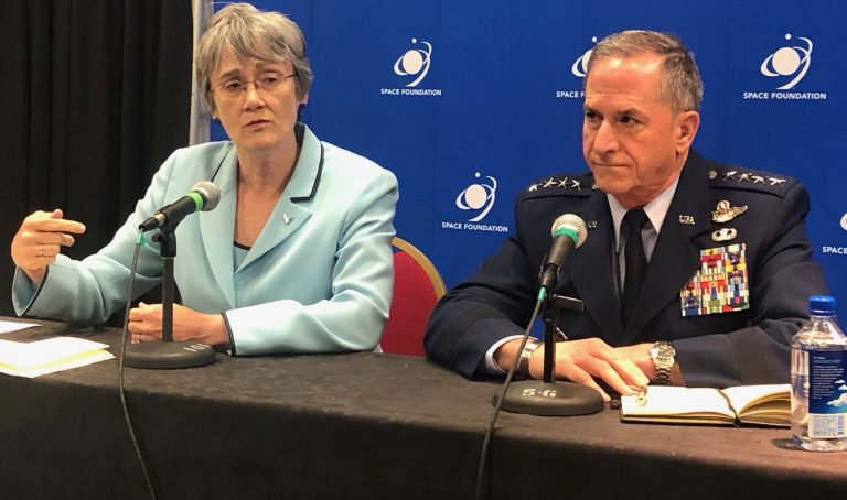 Air Force Secretary Heather Wilson and Gen David Goldfein announcing the demonstration of a Space Weaponat the 35th Space Symposium in Colorado Springs, Colorado