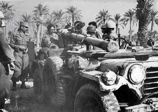 Iranian President Abolhassan Banisadr, who was also commander-in-chief, on a Jeep mounted 106 mm recoilless anti-tank gun supplied secretly by Israel under Operation Seashell.