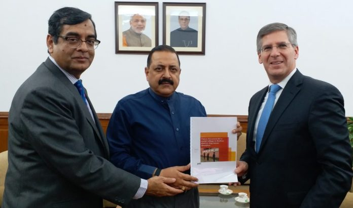 Chairman of PwC Robert Mortiz handing over Vision document for Model Village in Kathua district, Kashmir