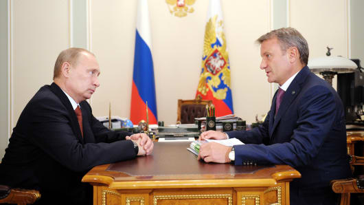 Herman Gref CEO of Sberbank of Russia with Putin