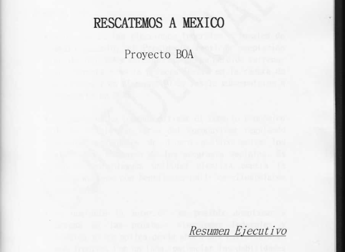 """The cover of the leaked document, the executive summary of the Project BOA plan, """"Let's Save Mexico"""""""