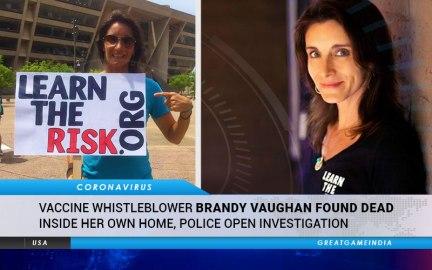 Vaccine Whistleblower Brandy Vaughan Found Dead Inside Her Own Home. Police Open Investigation