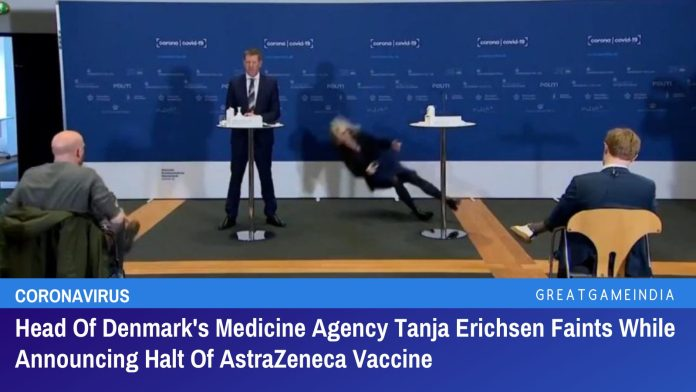 Head Of Denmark's Medicine Agency Tanja Erichsen Faints While Announcing Halt Of AstraZeneca Vaccine