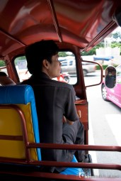 Riding the famous tuk-tuk at Bangkok.