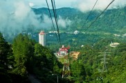 A cable car ride going up to Genting Highlands in Malaysia.