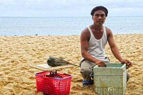 Seafoods vendor along the shore of Pagudpud Beach at Ilocos.