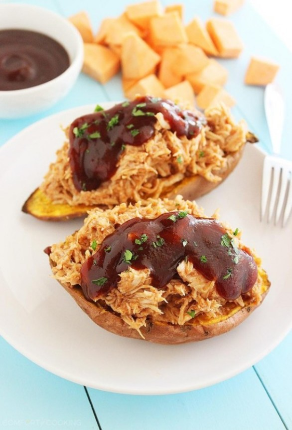 bbq-chicken stuffed sweet potatoes