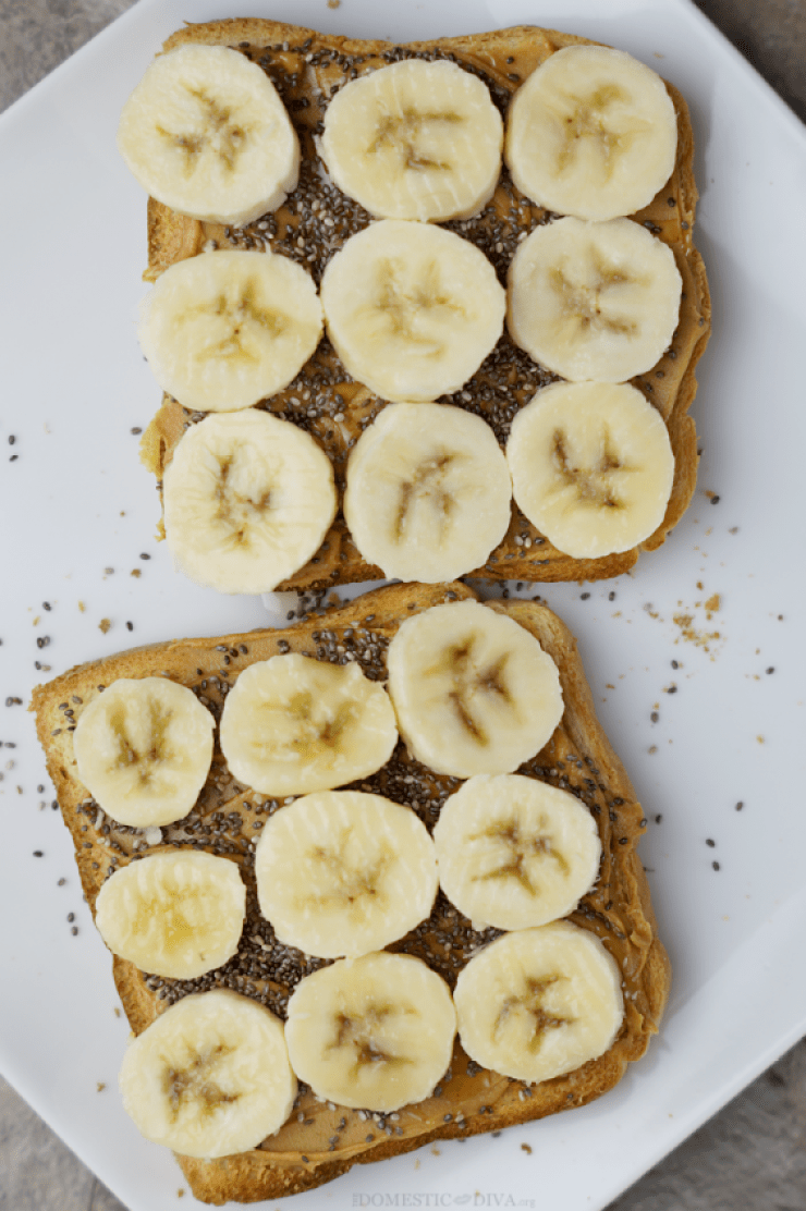 peanut butter and banana chia seed toast