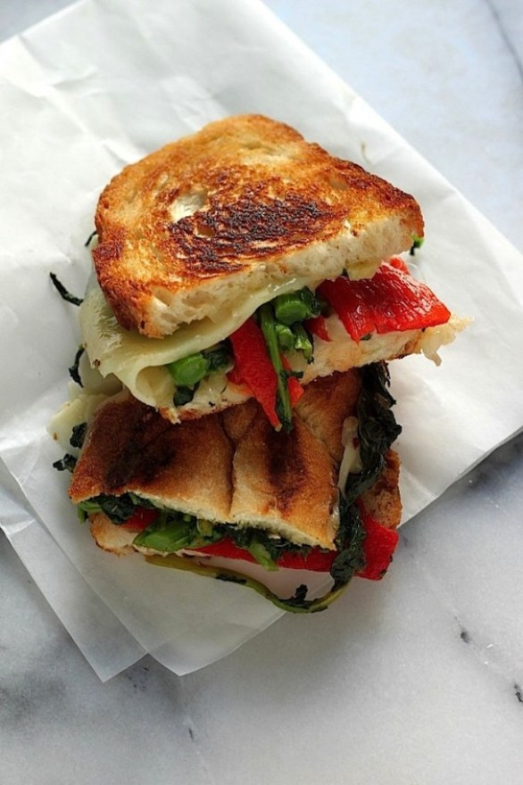 Broccoli Rabe and Red Pepper Grilled Cheese