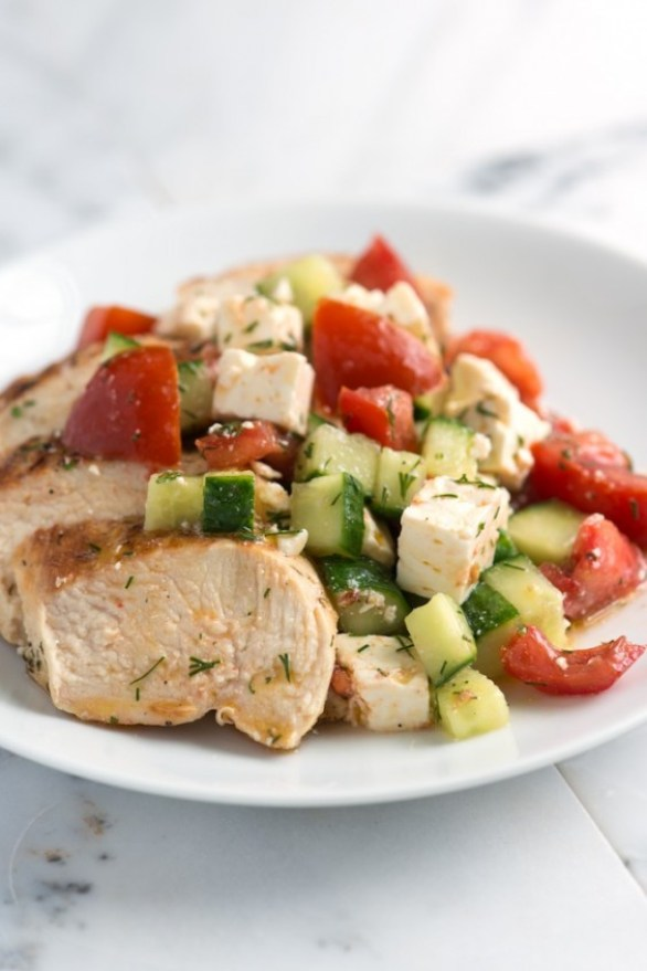lemony chicken breast with cucumber feta salad