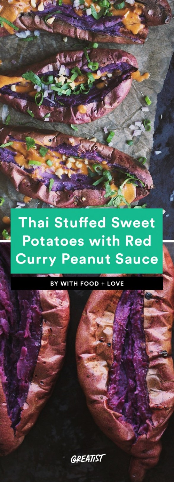 Thai Stuffed Sweet Potatoes with Red Curry Peanut Sauce