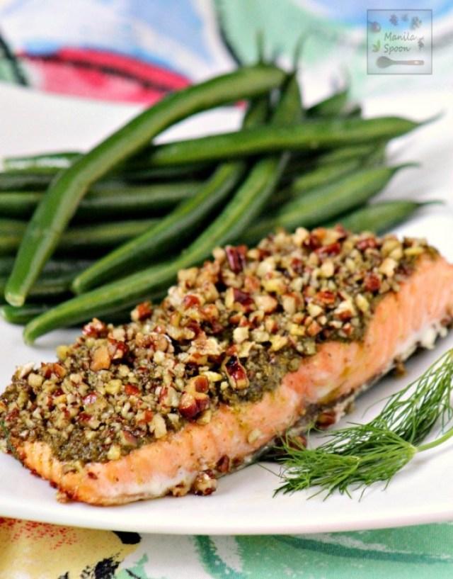 salmon with pesto