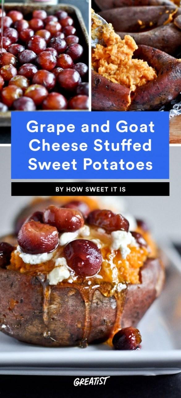 Roasted Grape, Goat Cheese, and Honey Stuffed Sweet Potatoes